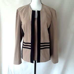 VTG 80s Black and Tan Faux Suede Blazer and Shell